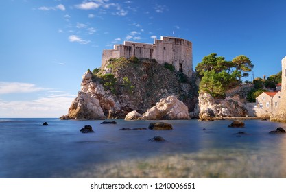 Fort Lovrijenac in Dubrovnic as seen from the beach.  Long exposure to create flat water on a clear bright sunny day.