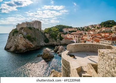 Fort Lovrijenac and historic wall of Dubrovnik, Croatia. Prominent travel destination of Croatia. Dubrovnik old town was listed as UNESCO World Heritage Sites in 1979.