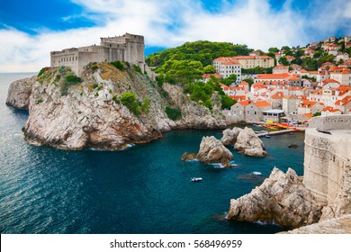 Fort Lovrijenac and the part of old town in Dubrovnik, Croatia