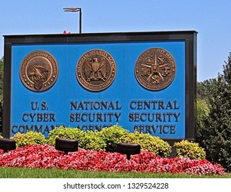Fort Mead, Md./USA-Aug. 20, 2017: A sign outside a secured complex near Washington, D.C., announces the NSA and other intelligence agencies.