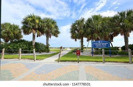 FORT MYERS BEACH, FLORIDA, USA - JULY:   Lee County Crescent Beach Family Public Park adjacent to Times Square and the Gulf of Mexico as seen on July 26, 2018.