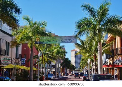 FORT MYERS, FL -10 FEB 2017- View of the historic downtown River District in Fort Myers, Florida.