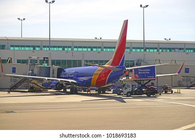FORT MYERS, FL -15 JAN 2018- View of an airplane from Southwest Airlines (WN) at the Southwest Florida International Airport (RSW), Florida.