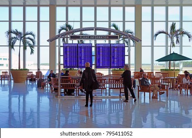 FORT MYERS, FL -15 JAN 2018- Inside the terminal at the Southwest Florida International Airport (RSW) in Fort Myers, Florida, United States.