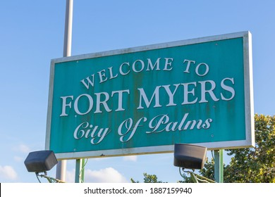 Fort Myers, FL, USA - 1-2-21: Welcome to Fort Myers city of palms Sign Greets Tourists and residents as they reach the bridge connecting Cape Coral to Fort Myers over the Chattahoochee river.