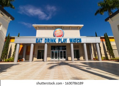 Fort Myers, FL/ USA – 1/28/20: Dave & Buster's In Bell Tower Shops in Fort Myers FL a family-friendly chain offering, American food in a Sports bar style setting with many arcade games.