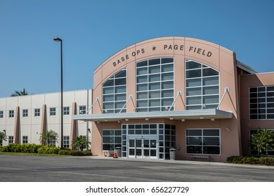 FORT MYERS, FLO - Febr 14, 2017: Small airport Base Ops Page Field in downtown Fort Myers for private flying. Beautiful sunny, blue sky day. Florida, USA