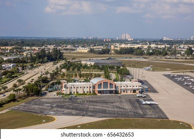 FORT MYERS, FLO - Febr 14, 2017: Aerial view on Small airport Base Ops Page Field in downtown Fort Myers for private flying. Beautiful sunny, blue sky day. Florida, USA