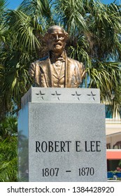 Fort Myers, Florida, USA 4/26/19 This is a close up statue of Robert E Lee outside of the government buildings in Fort Myers Florida that is so controversial that there is a move to remove it.