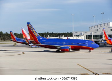 FORT MYERS, FLORIDA/USA - January 19, 2016: Four Southwest airplanes A320 parked at a  Southwest Florida International Airport (RSW)