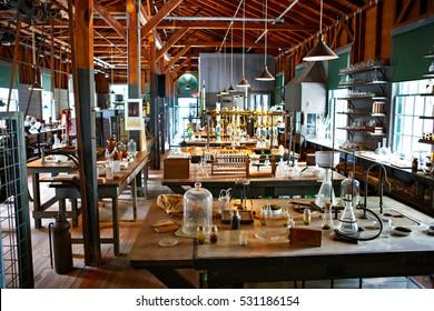 FORT MYERS,FL-APRIL 15 2016: Fort Myers Florida, Thomas Edison and Henry Ford Winter Estates. Experiment laboratorium of Edison museum. Florida, USA.