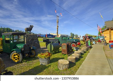 FORT NELSON, BRITISH COLUMBIA, CANADA - JULY 18, 2018: Fort Nelson Heritage Museum. Located just West of the historic Mile 300 milepost on the Alaska Highway