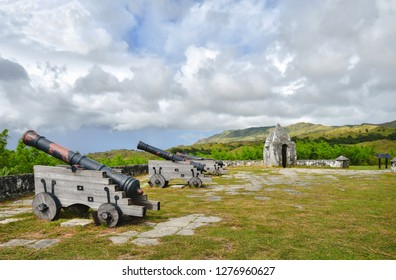 Fort Nuestra Senora de la Soledad fortification near Umatac Beach, Guam island, US Territory.