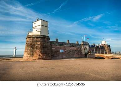 Fort Perch Rock with lighthouse in the background at New Brighton, Mersyside.