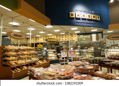 Fort Pierce, FL/USA - 04/26/19:  The bakery department of a Publix grocery store where all sorts of tasty baked goods are displayed.