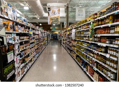 Fort Pierce, FL/USA - 04/26/19:  The can vegetable aisle of a Publix Grocery Store in Florida.