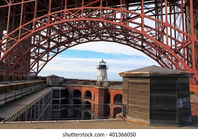 Fort Point and its lighthouse sit beneath the southern section of the famous Golden Gate Bridge.