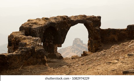 Fort Rajgad ruins in a Mountain Range near Pune, India.