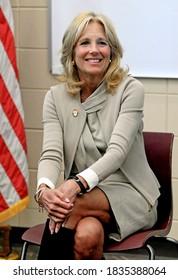 Fort Riley,  Kansas, USA, April, 6th 2016Dr. Jill Biden wife of Vice President Joe Biden visits The Fort Riley Middle School