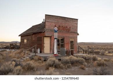 Fort Rock, OR - November 11, 2018: Old Fort Rock General Store abandoned and deserted in rural Central Oregon.