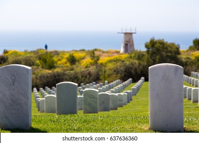 Fort Rosecrans National military Cemetery looking out over the Pacific ocean on Point Loma in San Diego California