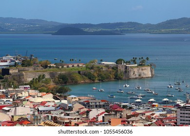 Fort Saint Louis with sailing boats in front in bay of Fort de France, Martinique