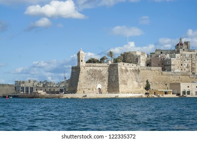 Fort Saint Michael as seen from the Grand Harbor in Senglea, Malta