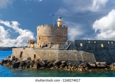 Fort of Saint Nicholas in Mandaki Harbor, Rhodes, Greece. Rodos. Landscape.
