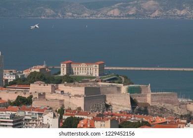 Fort Saint-Nicolas, Palais du Pharo and sea. Marseille, France