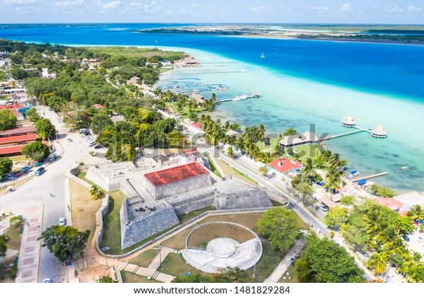 Fort San Felipe on the shores of the Bacalar Lagoon in Mexico