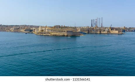 Fort St Angelo in Birgu Malta, view from Valletta horizontal photography