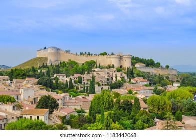 Fort Saint-André à Villeneuve-lez-Avignon Provence south of France a picturesque chateau overlooking the village under a big blue sky