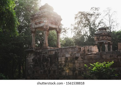 Fort walls of the Tomb of Sikandar Lodi, the ruler of the Lodi Dynasty in Lodhi Gardens in New Delhi, India