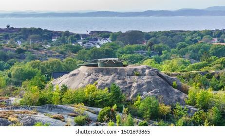 Torås fort, a war fort on the island of Tjome near Verdens Ende