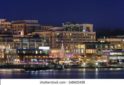 FORT WASHINGTON, MD - DECEMBER 20:  National Harbor waterfront, selected site for MGM's new casino and home of Tanger Outlets, illuminated at night on December 20, 2013.