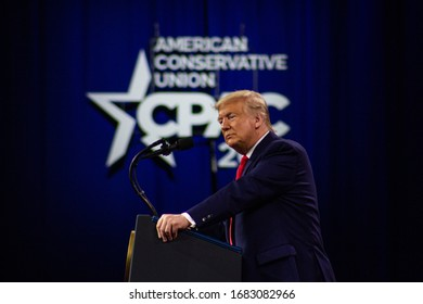 FORT WASHINGTON, MD / USA - February 29 2020: President Donald John Trump Speaking to Attendees at CPAC 2020