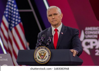FORT WASHINGTON, MD / USA - February 26 2020: Vice President of the United States speaking to attendees at CPAC 2020