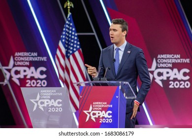 FORT WASHINGTON, MD / USA - February 26 2020: Charlie Kirk, Turning Point USA speaking to attendees at CPAC 2020