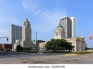 FORT WAYNE, IN - AUGUST 2: The downtown district in Fort Wayne, Indiana on August 2, 2014. Fort Wayne is the county seat of Allen County and the second largest city in Indiana.