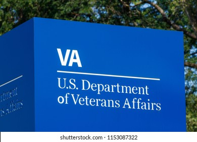 Fort Wayne - Circa August 2018: Signage and logo of the U.S. Department of Veterans Affairs. The VA provides healthcare services to military veterans III
