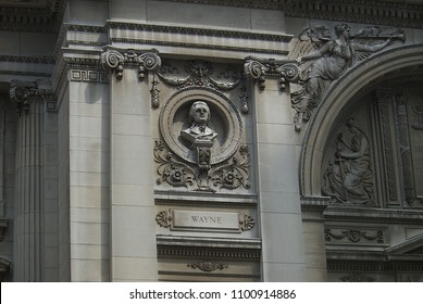 FORT WAYNE, INDIANA – APRIL 20: Bust of Anthony Wayne at the Allen County Courthouse on April 20, 2008 in Fort Wayne, Indiana. The county seat building was completed in 1902.