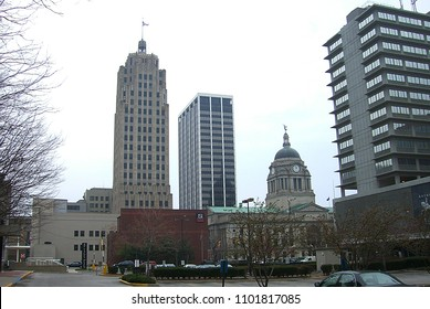 FORT WAYNE, INDIANA – APRIL 20: City skyline on April 20, 2008 in Fort Wayne, Indiana. Includes the Allen County Courthouse, completed in 1902.