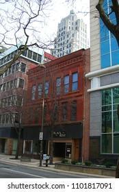 FORT WAYNE, INDIANA – APRIL 20: Vintage storefronts on April 20, 2008 in Fort Wayne, Indiana. The Midwestern city was founded in 1794.
