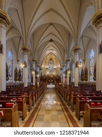 FORT WAYNE, INDIANA, USA - OCTOBER 29, 2018: Nave of the Cathedral of the Immaculate Conception on S Clinton Street in Fort Wayne