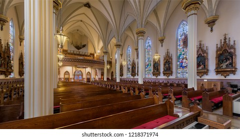 FORT WAYNE, INDIANA, USA - OCTOBER 29, 2018: Panorama of the interior of the Cathedral of the Immaculate Conception on S Clinton Street in Fort Wayne