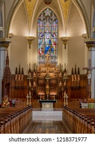 FORT WAYNE, INDIANA, USA - OCTOBER 29, 2018: Altar and sanctuary inside the Cathedral of the Immaculate Conception on S Clinton Street in Fort Wayne
