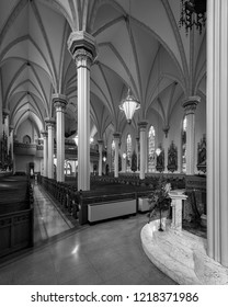FORT WAYNE, INDIANA, USA - OCTOBER 29, 2018: Interior of the Cathedral of the Immaculate Conception on S Clinton Street in Fort Wayne