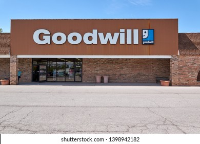 Fort Wayne, IN / USA - May 15, 2019: Editoral Illustrative Image Goodwill storefront in stripmall