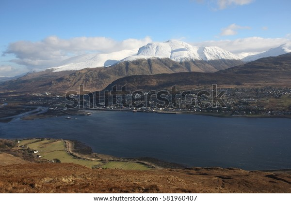 Fort William, Ben Nevis and Loch Linnhe, a popular winter holiday destination in the Scottish Highlands.