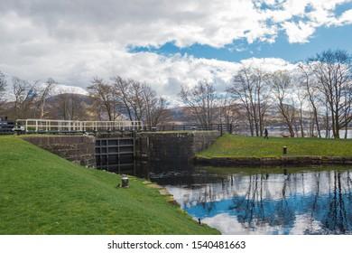 Fort William Caledonian Canal landscape. Highlands Scotland